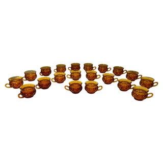Vintage Amber Kings Crown Coffee Cups - Set of 20