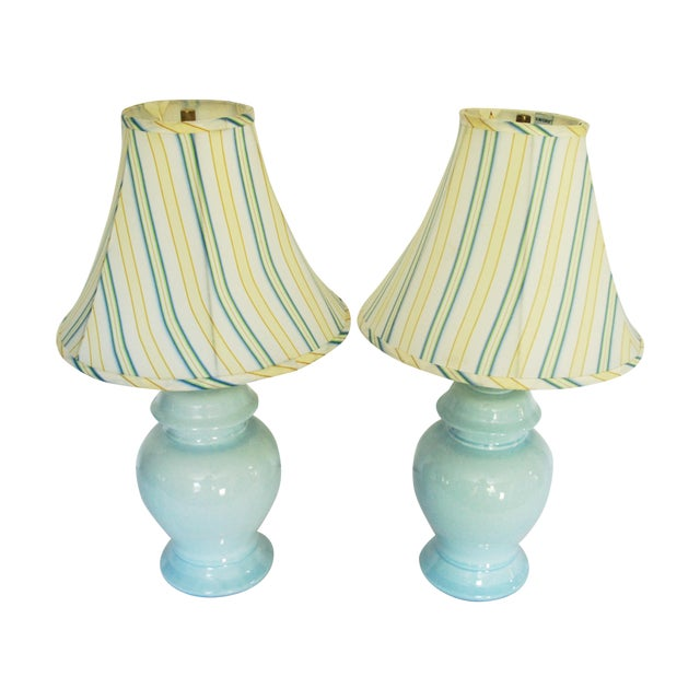 Vintage Blue Ginger Jar Lamps With Shades A Pair Chairish