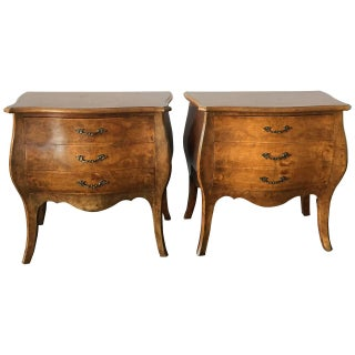 Pair of Bombay Style Italian Commodes with Burl Wood Veneer