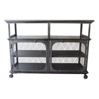 Antique Reproduction Industrial Metal Pantry Bar Cart