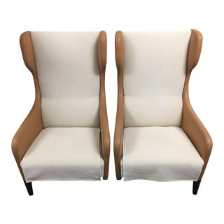 Cream Wing Back Chairs - A Pair