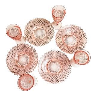 Vintage English Westmoreland Pink Hobnail Depression Glass Service- Set of 8