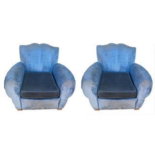 Vintage French Moustache Club Chairs - A Pair
