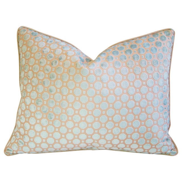 Aqua Blue Velvet Geometric Feather Down Pillow - Image 1 of 7