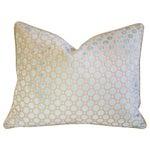 Image of Aqua Blue Velvet Geometric Feather Down Pillow