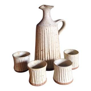 Mid-Century Studio Pottery Jug & Glasses