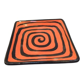 Orange & Black Square Pottery Plate