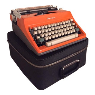 Orange Olympia Typewriter