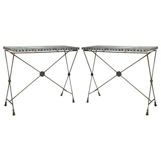 Iron Zinc Top X-Form Console Tables - A Pair