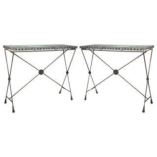Iron Zinc Top X-Form Console Tables - A Pair