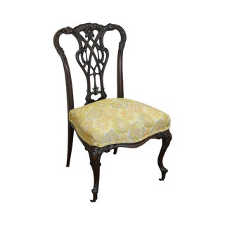 Antique Victorian Renaissance Carved Mahogany Slipper Chair