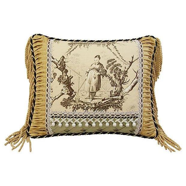 Custom Brunschwig & Fils Toile Boudoir Pillow - Image 4 of 6
