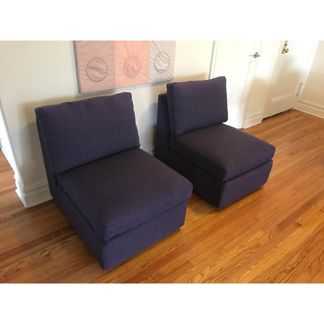 ABC Home Cobble Hill Purple Slipper Chairs- A Pair - Image 2 of 5