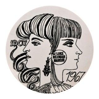 Vintage Piero Fornasetti Neiman Marcus 60th Anniversary Porcelain Plate & Neiman Marcus Box.