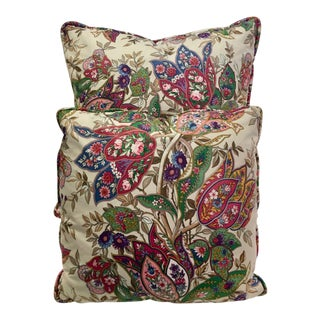 Two Paisley Print Pillows Made in France