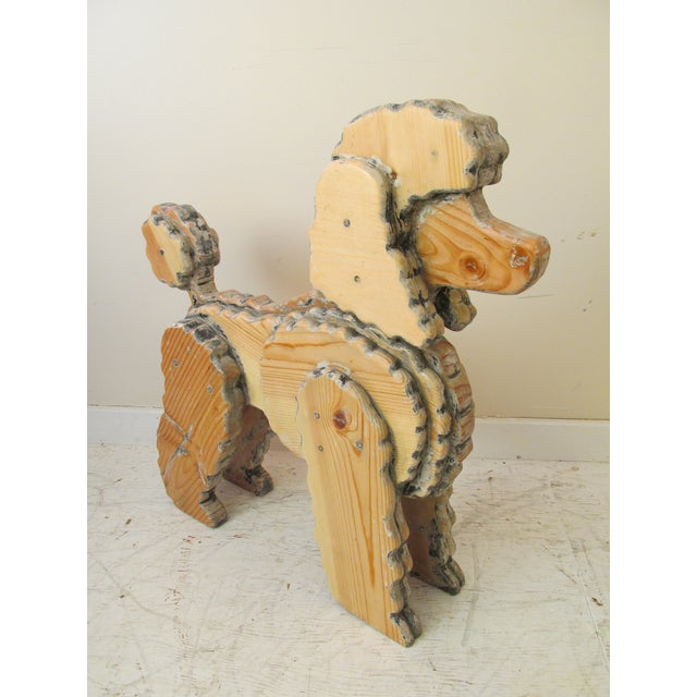 Life Size Wooden Poodle Sculpture - Image 2 of 7