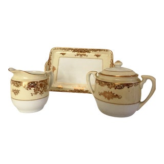 Noritake Sugar & Creamer With Tray - Set of 3