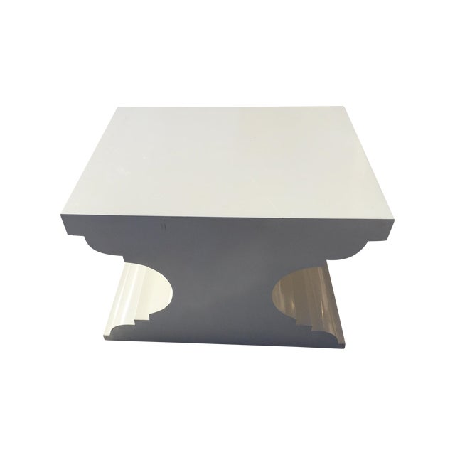 Image of Modern White Lacquered Side Table