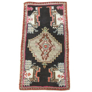 Black & Pink Vintage Turkish Rug - 1'7'' X 3'