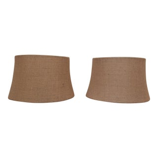 Pottery Barn Burlap Tapered Drum Shades - Pair