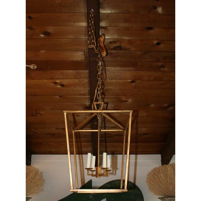 Gilded Iron Foyer Lantern Ceiling Light - Image 2 of 6