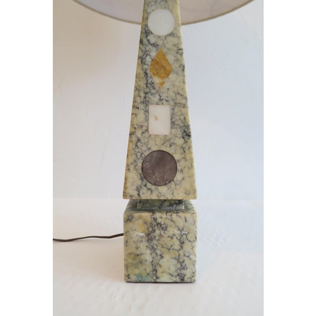 Vintage Stone Inlay Table Lamp - Image 3 of 6