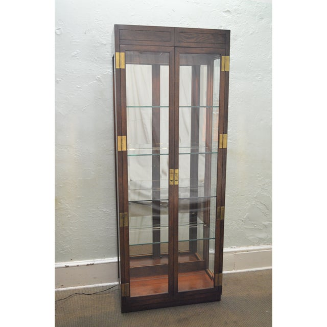 Henredon Campaign Style Lighted Curio Display Cabinet - Image 2 of 11