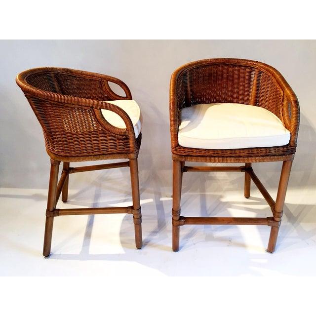 Contemporary Wicker Barstools - Pair - Image 3 of 5