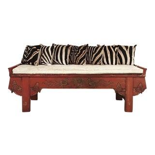 Carved Phoenix Bird Bench & Pillows