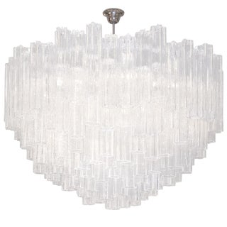 Venini Textured Tubular Clear Glass Chandelier