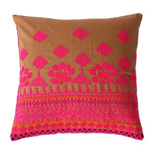 Vintage Hand Embroidered Pink Pillow