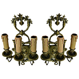 Spanish Bronze Sconces - Pair