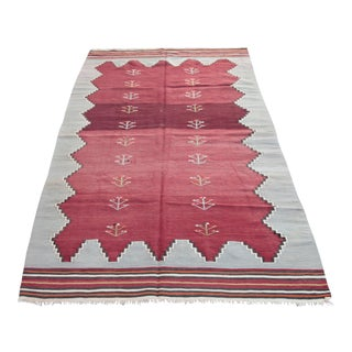 "Turkish Vintage Red Tone Color Kilim - 4'7"" x 9'"