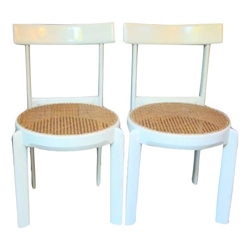 Midcentury Italian White Lacquered Chairs - A Pair - Image 1 of 10