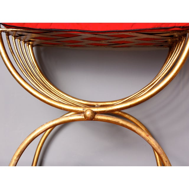 Italian Gilded Metal Stool/Bench with Cushion - Image 5 of 6