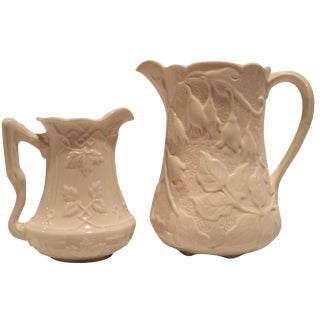 Creme Porcelain Water Pitchers - A Pair