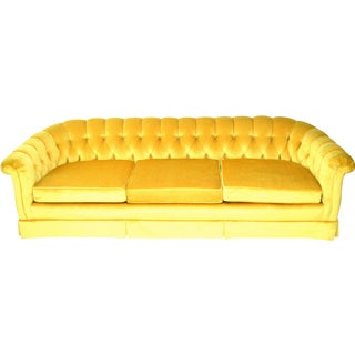 Vintage Yellow Tufted Sofa