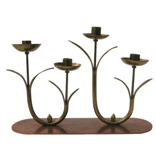 Mid-Century Brass Flower Candleholder