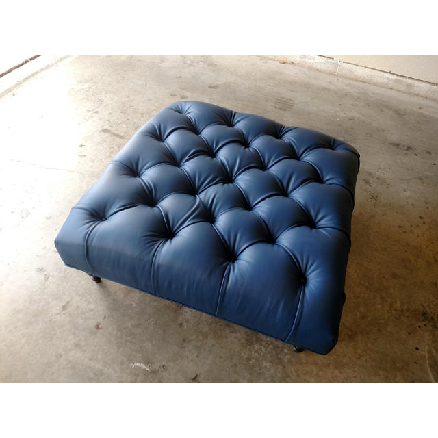 Gambrell Renard Tufted Blue Leather Ottoman - Image 2 of 7