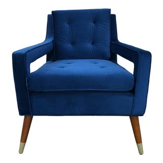 Mid-Century Style Blue Lounge Chair