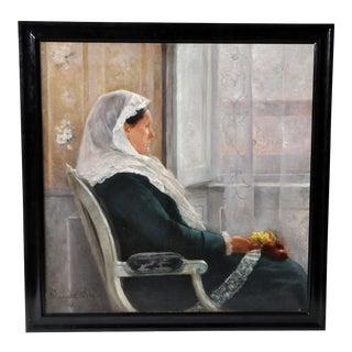 """""""Dame Devant Unde Fenetre"""" by Fernand Blayn"""
