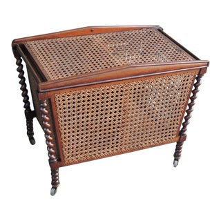 19th C English Regency Mahogany and Cane Sewing Box