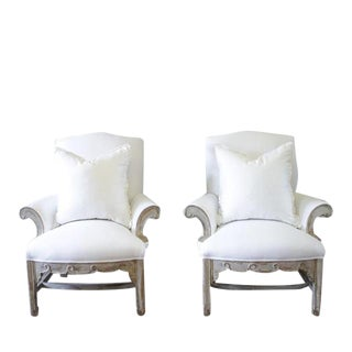 William Switzer White Painted & Upholstered Bergere Chairs - A Pair