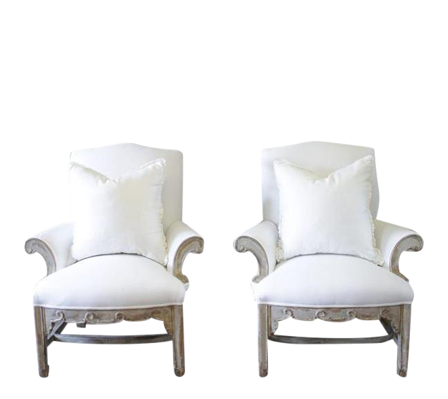 William Switzer White Painted U0026 Upholstered Bergere Chairs   A Pair