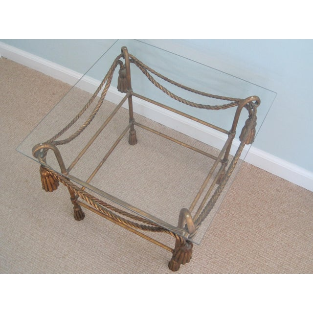 Mid-Century Italian Hollywood Regency Table With Gilt Cast Metal Rope Tassels Base Only - Image 7 of 9