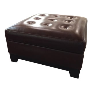 Elite Leather Square Storage Ottoman