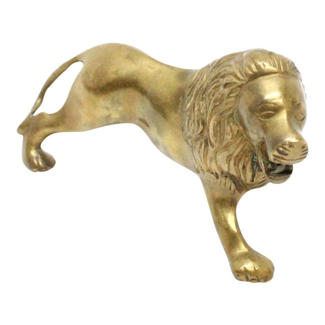 Image of Vintage Mid-Century Brass Lion