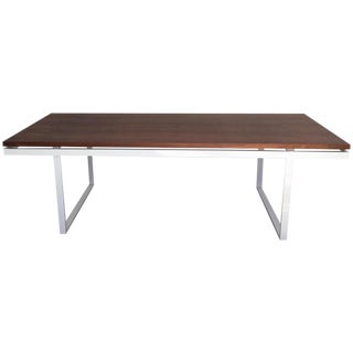 Neutra Style Walnut Slab Dining Table