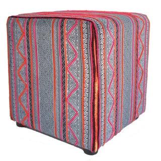 Vintage Hmong Indigo & Pink Batik Cube Ottoman