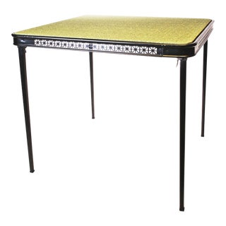 Mid Century Modern Green/Black Folding Card Table